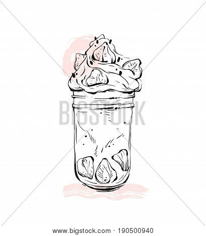Hand drawn vector graphic Monstershake Milkshake with strawberry and cream in glass jar isolated on white background with pastel colored freehand textures.