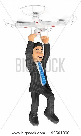 3d business people illustration. Businessman flying hanging from a drone. Isolated white background.