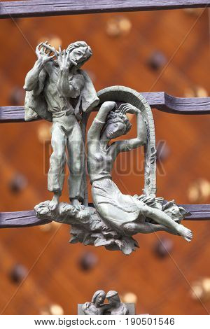 14th century St. Vitus Cathedral figures of Golden Gate fence relief Prague Czech Republic