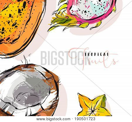 Hand drawn vector abstract freehand textured unusual background with exotic tropical fruits papaya, dragon fruit, coconut and carambola illustrations isolated on white.