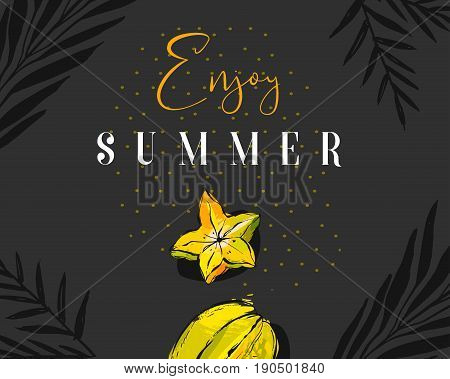 Hand drawn vector abstract summer time creative header with tropical fruit carambola, exotic palm leaves and modern calligraphy quote Enjoy summer with polka dots texture isolated on black background.