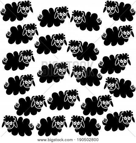 Flock of black sheep on white background . Vector illustration.
