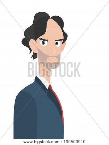 Businessman angry boss character isolated. Art cartoon design vector illustration