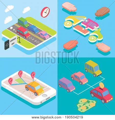 Carpool service concept in isometric style design. Vector flat 3d icons. People sharing cars. Mobile smartphone to share ride and use carpooling HOV lane. Sharing economy and collaborative consumption.