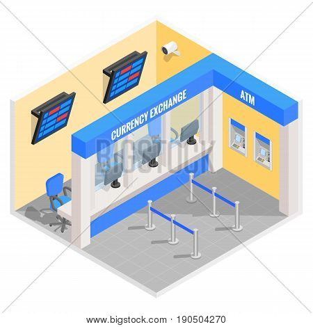 Currency exchange office in isometric style design. Vector flat 3d finance and money isolated icons and elements. Currency exchange booth interior.