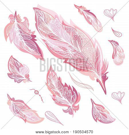 Boho tribal style sketch doodle powder color elegant design elements