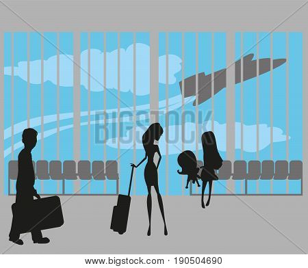 tourists silhouette at the airport , vector illustration
