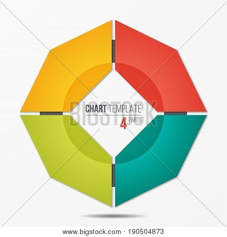 Polygonal circle chart infographic template with 4 parts, options, steps for presentations, advertising, layouts, annual reports. Vector illustration.
