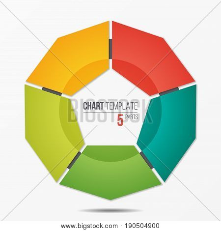 Polygonal circle chart infographic template with 5 parts, options, steps for presentations, advertising, layouts, annual reports. Vector illustration.
