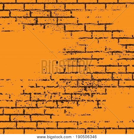 Abstract orange background with black bricks and ink splash