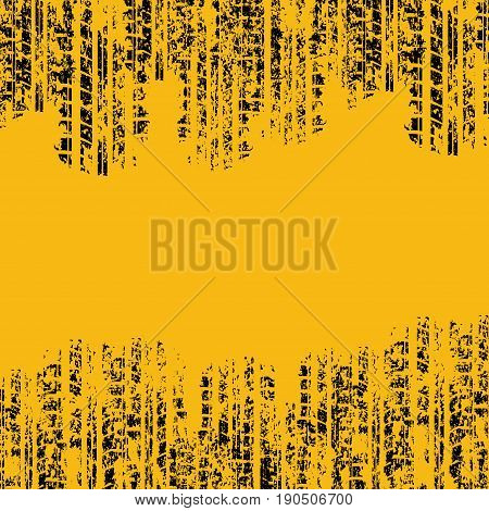 Yellow background with grunge tire tracks and ink blots
