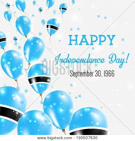 Botswana Independence Day Greeting Card. Flying Balloons In Botswana National Colors. Happy Independ