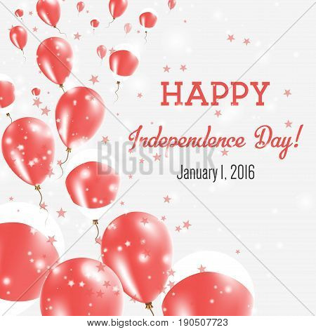 Japan Independence Day Greeting Card. Flying Balloons In Japan National Colors. Happy Independence D