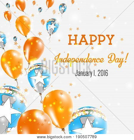 Northern Mariana Islands Independence Day Greeting Card. Flying Balloons In Northern Mariana Islands