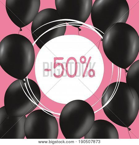 Group of balloons sale message for shop. Balloons sale black friday decoration. Illustration of Black Friday Sale Background Template