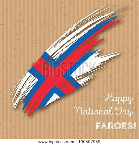 Faroes Independence Day Patriotic Design. Expressive Brush Stroke In National Flag Colors On Kraft P