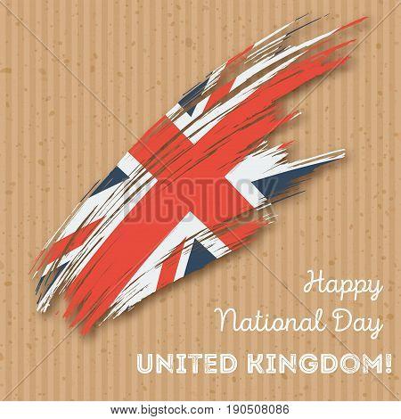 United Kingdom Independence Day Patriotic Design. Expressive Brush Stroke In National Flag Colors On