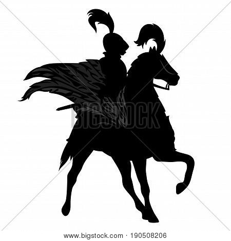 knight riding a winged horse - black pegasus warrior vector design