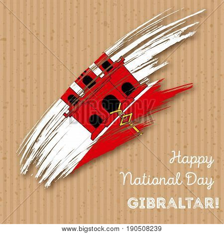Gibraltar Independence Day Patriotic Design. Expressive Brush Stroke In National Flag Colors On Kraf