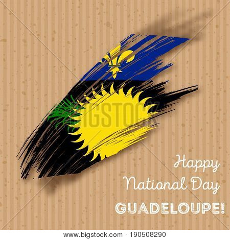 Guadeloupe Independence Day Patriotic Design. Expressive Brush Stroke In National Flag Colors On Kra