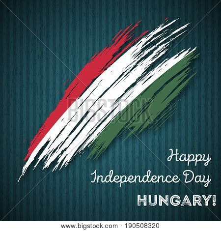 Hungary Independence Day Patriotic Design. Expressive Brush Stroke In National Flag Colors On Dark S
