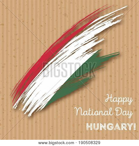 Hungary Independence Day Patriotic Design. Expressive Brush Stroke In National Flag Colors On Kraft