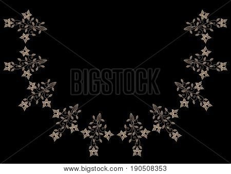 Embroidery stitches imitation neck line pattern with vintage flower. Fashion embroidery on black background. Embroidery flower vector.