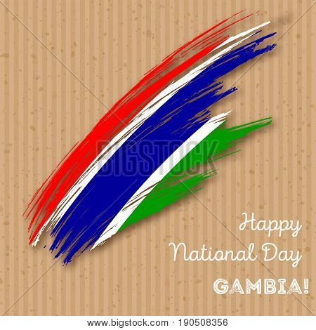 Gambia Independence Day Patriotic Design. Expressive Brush Stroke In National Flag Colors On Kraft P