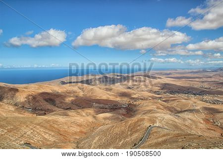 Beautiful view over the island of Fuerteventura from the famous Mirador Morro Velosa.