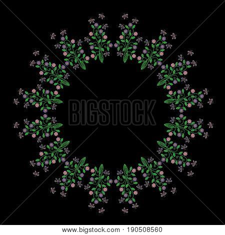 Embroidery stitches imitation round frame pattern with folk flower and butterfly. Fashion embroidery on black background. Embroidery flower vector.