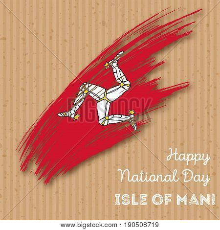 Isle Of Man Independence Day Patriotic Design. Expressive Brush Stroke In National Flag Colors On Kr