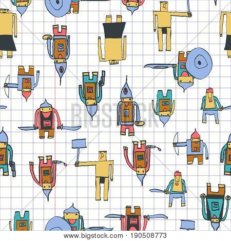 Hero Seamless Pattern. Appealing Child's Drawing With School Pen. Cute Hero Hand Drawn With Colorful