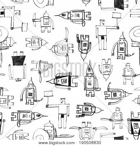 Hero Seamless Pattern. Awesome Child's Drawing With School Pen. Cute Hero Hand Drawn With Black Ink