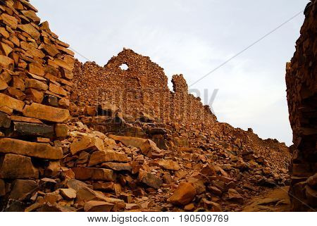 Ruins of Ouadane fortress in Sahara at Mauritania
