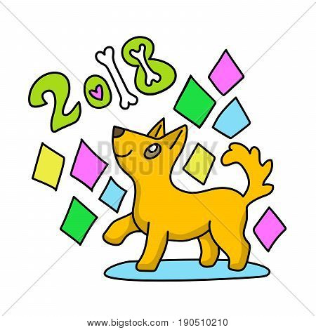 Bright colorful vector cartoon illustration of yellow dog new year 2018 chinese animal zodiac symbol. Calendar horoscope card poster banner web site magazine e-mail advertisement design.