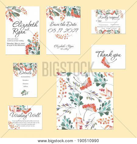 Template cards set with watercolor rowan tree and other autumn tree branches; wedding design for invitation, Save the date card, RSVP, Thank you card, Wishing Well card,  for anniversary day