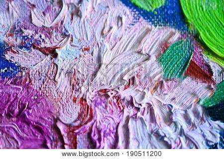 Colorful oil paints strokes on canvas. Beautiful pallette for prints, scrapbooking, design, templates, interior decoration, posters, wallpapers. White, red, blue, green, pink, fuchsia colors.Handmade.