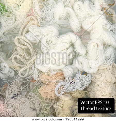 White cotton thread background. Vector thread texture