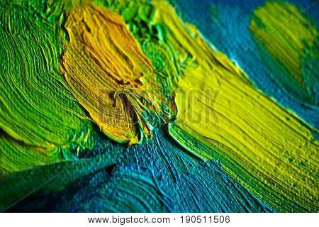 Colorful oil paints strokes on canvas. Beautiful pallette for prints, scrapbooking, design, templates, interior decoration, posters, wallpapers. Yellow, blue, green colors. Handmade.