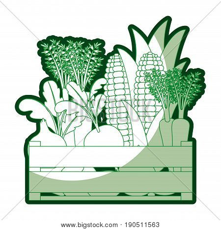 green silhouette of wooden box with vegetables with half shadow vector illustration