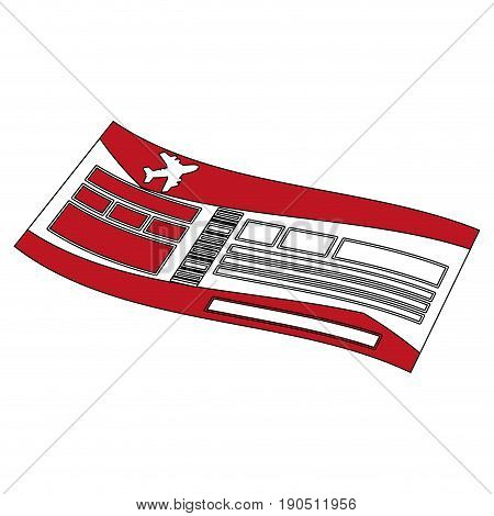 Flat line airplane ticket over white background vector illustration