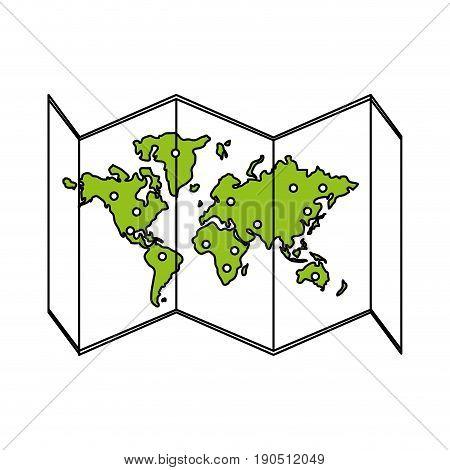 Flat line world map over white background vector illustration