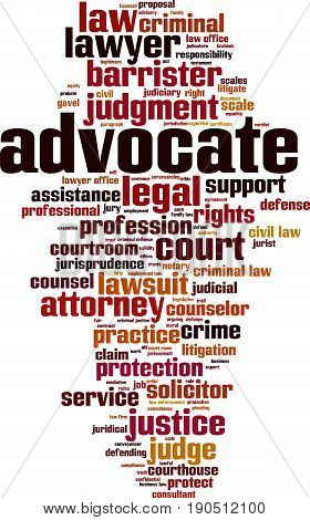 Advocate word cloud concept. Vector illustration on white