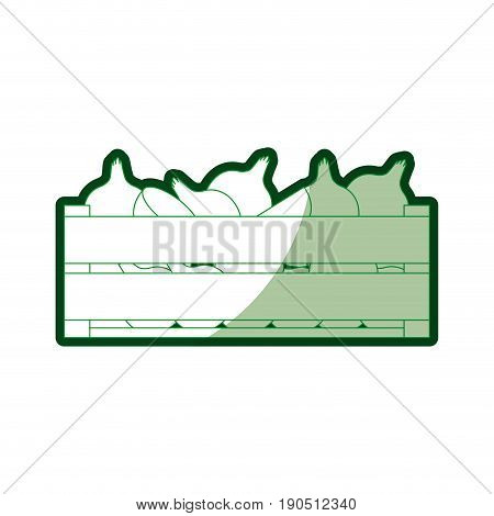 green silhouette of wooden box with onions and half shadow vector illustration