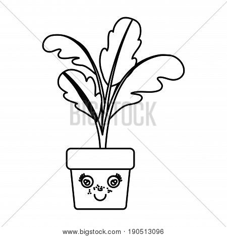 monochrome silhouette of caricature beet plant in pot vector illustration