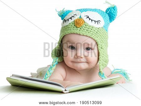 baby infant boy weared funny owl knitted hat owl with book, isolated on white background