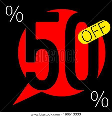 Sale 50 persent off square special offer banner. Vector illustration. - stock vector