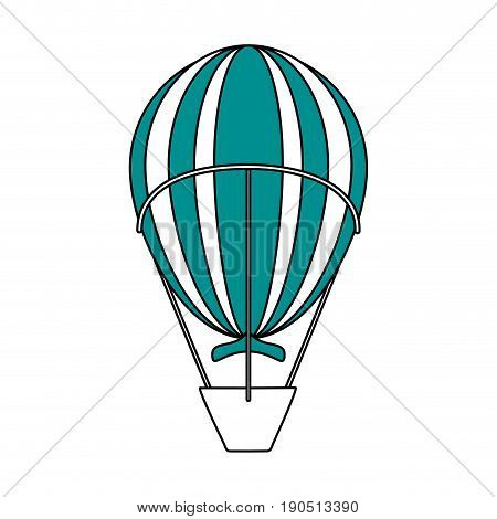 Flat line hot air ballon over white background vector illustration
