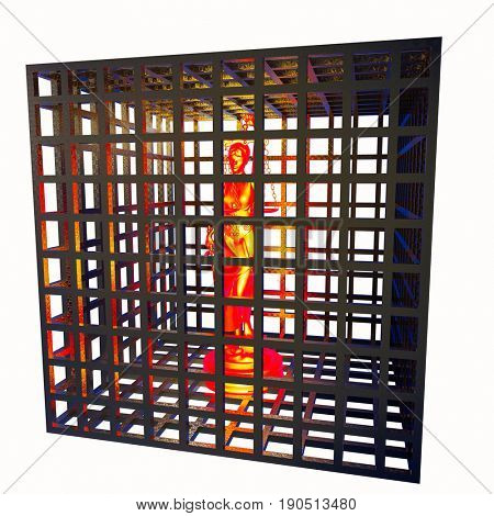 Greek goddess of law and justice in cage 3D rendering