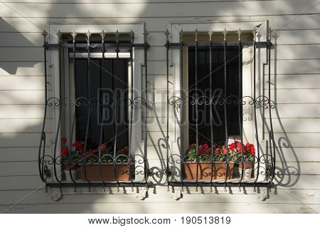 Twin window decorated with flowers.There are window guardrails for safety